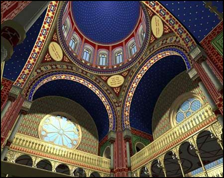 Interior rendering of the digital model of the Grosse Synagogue Glockengasse in Cologne (built 1857-61)