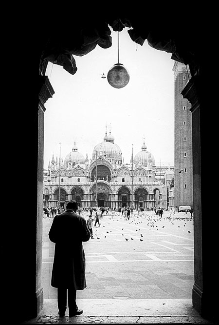 Venice, looking across the piazza to the Basilica di San Marco and the Campanile